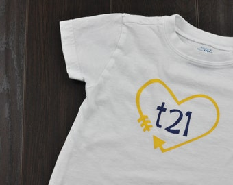 "Down Syndrome Awareness Onesies / T-shirts ~ Girls and Boys, Baby, Toddler, and Child sizes -  Yellow and Blue ""T21"" Logo on White"