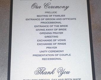 One panel Wedding Program