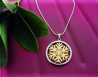 Snowflake Flower Circle Pendant - Choose Your Style