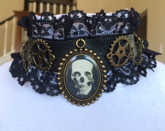 Black lace and leather steampunk skull cameo gears and chains choker necklace