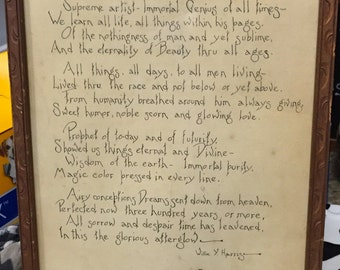 Vintage and homemade framed poem, dedicated to Shakespeare!