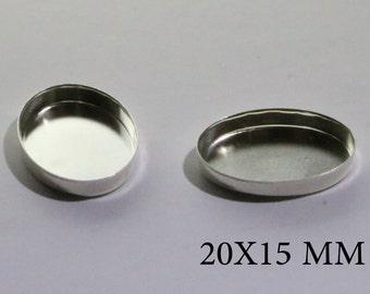 Sterling Silver Oval Bezel Cups 20x15 mm