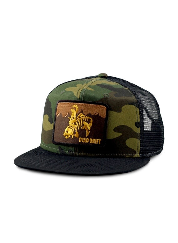 Fly fishing hat wild west camo flat bill snapback trout for Fishing flat bill hats