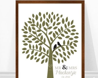 Family Tree Print, Wedding Gift, Personalized Wedding Print, Bird Silhouettes, Unique Wedding Gift Idea, Personalized Art, Gift for Bride