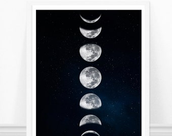 Moon Phases Print, The moon Print - Modern Geometric Art Print - Galaxy Art - Astronomy Art Print
