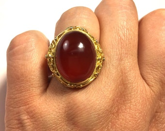 Vintage Carnelian Ring, Chinese Ring, Filigree Ring, Vintage Red Agate (Carnelian) Filigree Gold Plated Sterling Silver Ring from the 60s