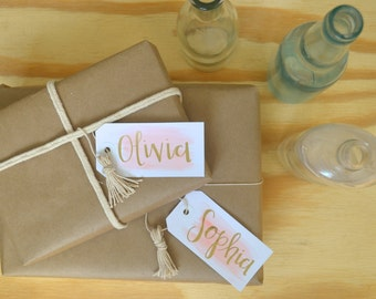 Bridesmaid Gift Tags - Bridesmaids Gift - Wedding - Modern Calligraphy - Watercolor