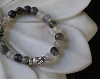 Black Rutile Buddha Bracelet