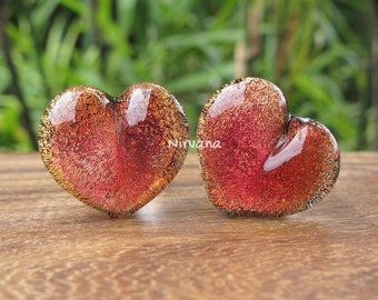 """Fire Red Dichroic Glass Heart Plugs (Large Gauge Size Photo) 10g 8g 6g 4g 2g 0G 00g  7/16"""" 1/2"""" 9/16"""" 5/8"""" 3/4"""" 7/8"""" 1""""  3 mm 4 mm - 25 mm"""