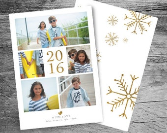 2017 Holiday Card - 2016 Christmas Card - Photo Collage Holiday Card - Photo Collage Christmas Card - New Years Announcement - Digital Jpeg