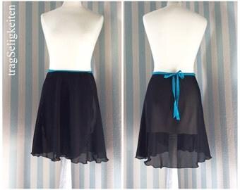 Black ballet wrap skirt, ballet chiffon skirt, rehearsal skirt, balletwear, rehearsal ballet skirt, elastic waistband, dance clothing