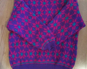 Beautiful Hand-knit ICELANDIC sweater , New Warm and Nice ,size M #