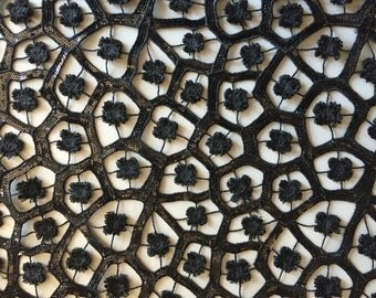 Black Venice Lace, floral design with Black sequin embroidery, Sold by the yard, 54 inches wide
