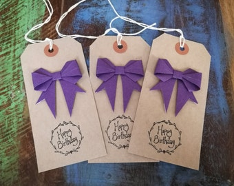 Birthday Gift Tags, Purple Origami Bows, Pack of Three