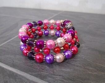 Pink Glass Pearl Memory Wire Bracelet, Glass Pearl Bracelet, Wrap Around.