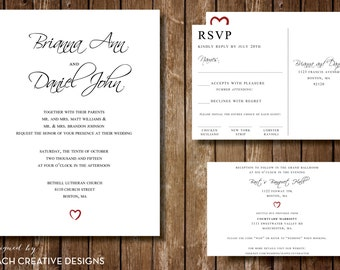 Modern Heart Wedding Invitation Set // DIY Printable Wedding Invitation Set // Heart Wedding Invite