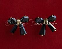 CZ Black Gold Bow Bridesmaid Gift Earrings, Cubic Zirconia Earrings Silver Black Bridal Earrings, Gift CZ Earrings