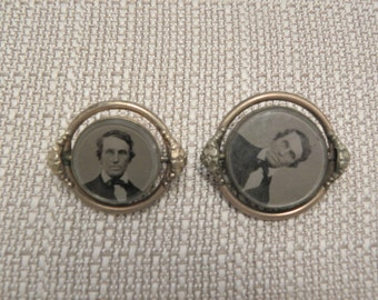 Vintage Victorian Spinning Picture Brooches