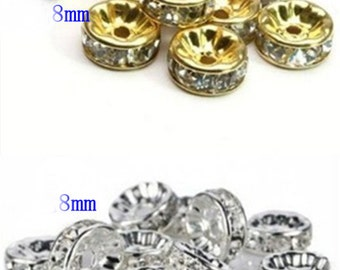 100pcs Gold Silver Plated Spacer Beads Fit for Bracelet Necklace Jewelry Findings