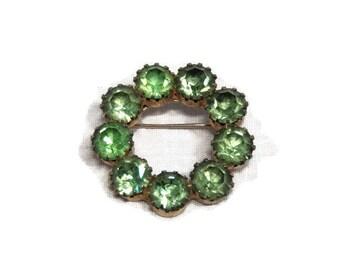Vintage Light Green Peridot Rhinestone Wreath Brooch