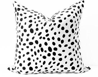 Polka Dot pillow cover - Black and White pillow - Dalmatian pillow - Modern pillow - Contemporary pillow-  Black pillow - White pillow