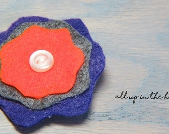 Purple Flower Barrette - Felt Flower Barrette - Orange Flower Barrette - Grey Flower Barrette