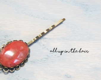 Cherry Quartz Bobby Pin - Red Bobby Pin - Pink Bobby Pin - Gemstone Bobby Pin - Gemstone Hair Pin - Quartz Hair Pin