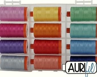 Aurifil STRAWBERRY Collection - 12 lg spools 50 wt 100% Mako Cotton Thread
