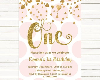 Pink and Gold 1st Birthday Invitation Girl, Any Age Pink Gold Heart Confetti Pink and Gold First Birthday Invitation, Polka Dot Printable