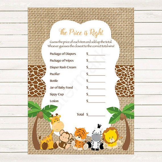 Safari Price Is Right Baby Shower Game, The Price Is Right Baby Shower Game  Jungle, Instant Download PDF Printable216