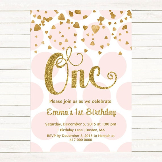 Pink And Gold St Birthday Invitation Girl Any Age Pink Gold - 1st birthday invitations gold and pink