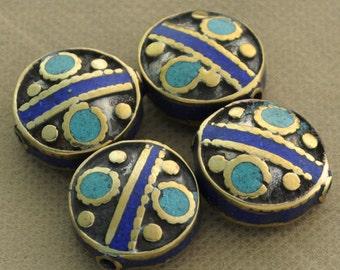 4 Beads  - Brass Tibetan Nepalese NepaliTurquoise Lapis Inlaid Tibet Nepal B66