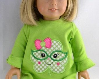 Shamrock doll dress, saint patrick's doll dress, st patty doll dress, girl, doll dress, american, dolly, me