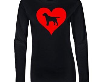 Lab Love Heart Junior Long Sleeve T-Shirt. Juniors Long Sleeve T-Shirt. Dog Lover Shirt.  64400L