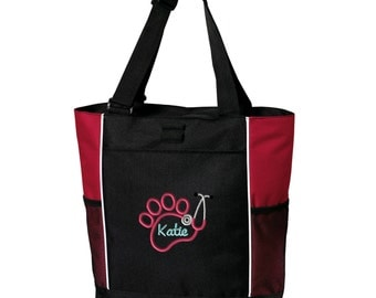 Paw Stethoscope Vet Zippered Tote Bag - Monogrammed. Embroidered Vet Tech Tote Bag. Vet Tech Gift.  Vet Tech Tote.  Personalized. SM-B5160