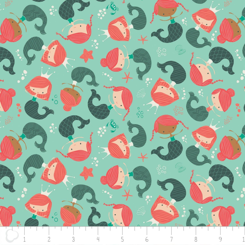 Mermaid Sea Fabric - Sea Life By Stolenpencil - Kids Ocean Beach ... : mermaid quilt fabric - Adamdwight.com