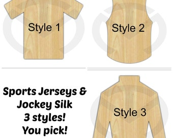 Unfinished Wood Jersey and Jockey Silk Laser Cutout, Wreath Accent, Door Hanger, Ready to Paint & Personalize, Various Shapes and Sizes