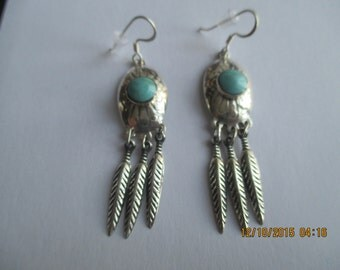 Feather Earrings ..Sterling Silver with Turquoise..Nice Size..Great Look..New