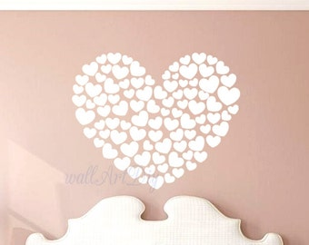 Hearts wall decal Bedroom wall decals White wall decals Wall muralrs for bedroom Love hearts wall decals Custom heart wall decals