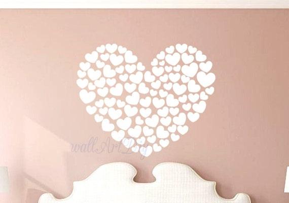 Coeurs wall sticker chambre stickers muraux blanc mur muralrs - Stickers muraux noir et blanc ...
