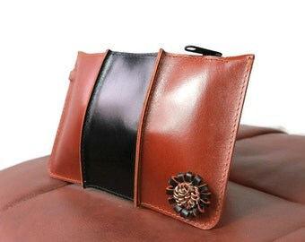2 Colour Leather Pouch/Purse/Clutch with Tassel/Brown and black clutch