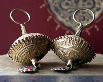 Vintage Pakistani Folk Tribal Earrings (Kuchi Tribal Jewelry)