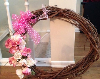 Large Grapevine Wreath with Pink & Cream Flowers and Butterfly