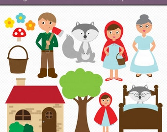 Little Red Riding Hood Clipart Commercial Use Clip Art INSTANT Download Digital Art Set