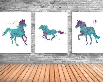Horse Art, Equestrian Decor, Set of Three Art Prints For Horse Enthusiast - HS1