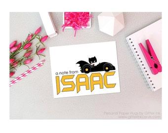 Set of 10 Personalized Superhero Stationery - Superhero Note Cards - Superhero Bat Boy Cards - Superhero Thank You Cards