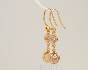 Diamond earrings Bridal earrings, Gold bridal earrings Bridesmaid gift Mother of the bride earrings Delicate jewelry Cz diamond