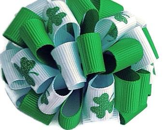 St. Patricks Day hair bow, loopy hair bow, shamrock hair clip