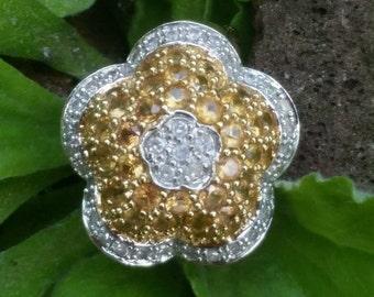 Vintage 14k Yellow Gold Yellow Topaz Diamond Flower Cluster Ring 6.2 gm