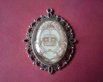 "Antique Silver Crown Pendant 2 1/2"" by 2"""